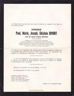 FLEURUS Paul BIVORT Notaire Mutuelle Fanfare Veuf Pauline DELVAUX 1870-1965 En Deux Volets Complets JAMOULLE PONETTE - Obituary Notices