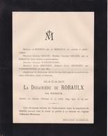 Château D'HANTES Veuve De ROBAULX Née DUBOIS 89 Ans 1899 Familles De ROSSIUS GILLON WANDERPEPEN Merbes-le-Château Binche - Obituary Notices