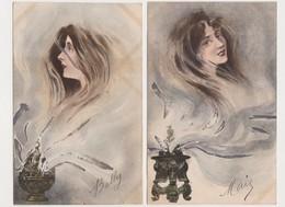 2 Cpa Fantaisie / Visage De Femme S'élevant D'un Brûle Parfum - Femmes