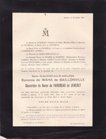 JENERET JENNERET Claudine De WAHA De BAILLONVILLE Baronne De FAVEREAU De JENERET 81 Ans 1912 LOHEST D'ASPREMONT-LYNDEN - Obituary Notices