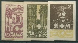 Mittellitauen 1921 Weißes Kreuz 31/33 B Postfrisch Geschnitten - Lithuania