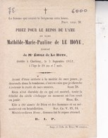 NIVELLES CHARLEROI Mathilde De LE HOYE épouse Emile De LE HOYE 28 Ans 1852 Souvenir Mortuaire DP - Obituary Notices