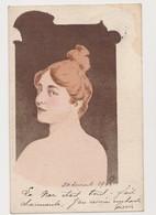 Cpa Fantaisie Signée Just.(?) 1900 / Jeune Femme De Dos Et De  Profil - Illustrateurs & Photographes