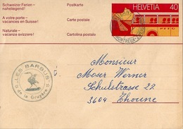 "PK 207  ""Les Barbus De La Gruyère, Montbovon""  (Bahnstempel)         1977 - Interi Postali"