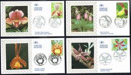 """Y/T  N° 3763/66 S/ 4 FDC  - Oblitération """" PARIS - 11.03.2005"""" - Flore; Fleurs: Orchidées. - 2000-2009"""