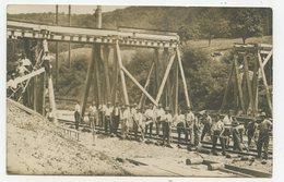 Carte Photo Pas Courante ! Ligne Chemin De Fer.Construction Passerelle,Travaux Ferroviaire,étival,Senones.Vosges..E.75AE - Senones