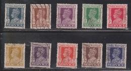 INDIA Scott # O105-9, O111-2 Used - KGVI - 1936-47  George VI