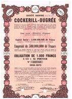 Titre Ancien - Cockerill-Ougrée  - Obligation De 1958 - Déco - Industrie