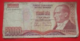 X1- 20000 Turk Lirasi 1970. Turkey Circulated Banknote - Turkije