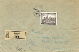 1941- Reg. Cover From Jitschin To Auxerre - Back, Censure Allemande From  Francfort - Lettres & Documents