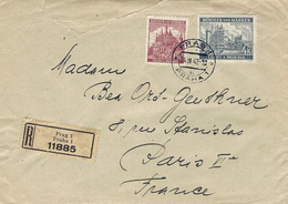 1942- Reg. Cover From Prag To Paris - Back, Censure Allemande From Francfort - Lettres & Documents