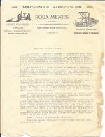 Courrier: Machines Agricoles Roux-Menier, Société Amouroux - St Saint-Laurent-de-Lin (Indre-et-Loire) 1929 - Agriculture