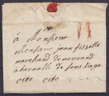 """L. Datée 26 Juillet 1763 De DIRCOT Pour HERMALLE Par Liège - Exprès """"cito Cito' - Port """"II"""" à La Craie Rouge - 1714-1794 (Oesterreichische Niederlande)"""