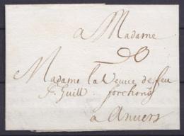 """L. Datée 25 Mai 1688 De CEULEN (Cologne) Pour ANVERS (transit Par Liège) - Port (indiqué à L'arrivée) """"6 Grooten"""" (= 6 S - 1621-1713 (Spanish Netherlands)"""