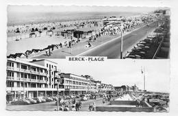 BERCK PLAGE - N° 1 - MULTIVUES AVEC CITROEN DS - TIMBRE DECOLLE - FORMAT CPA VOYAGEE - Berck