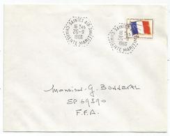 FM DRAPEAU LETTRE C. HEX PERLE SAINTES AIR 20.9.1966 CHARENTE MARITIME - Franchise Militaire (timbres)