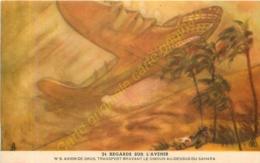 REGARDS SUR L'AVENIR . N°5 AVION DE GROS TRANSPORT BRAVANT LE SIMOUN DU SAHARA . Carte Publicité BYRRH . - Publicidad