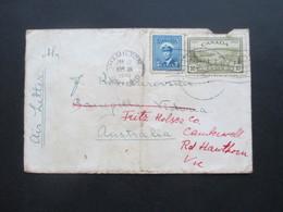 Kanada Hamilton 1949 Air Letter / Luftpost Nach Australien Und Dort Weitergeleitet! - Cartas