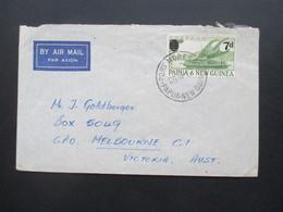 Papua Neuguinea 1957 Port Moresby Freimarken Mit Neuem Wertaufdruck Nr. 26 EF Auf Brief Nach Australien Luftpost - Papua-Neuguinea