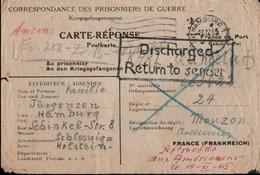 ! 1945 Kriegsgefangenenpost Nach Mouzon, Ardennes Frankreich, Hamburg, Prisonniers De Guerre, Discharge - Amerikaanse-en Britse Zone