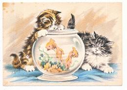 CPSM 10.5 X 15  Barre Dayez  Chatons Autour D'un Aquarium Poissons Rouges Illustrateur Naudy Chat - Naudy
