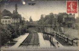 Clair De Lune Cp Viroflay Yvelines, La Gare R. G. Et Les Quais, Nuit - Other Municipalities