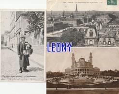 "3 CPA De PARIS (75) - Le PANORAMA Des SEPT PONTS N° 141 - Le TROCADERO N° 156 - Les PETITS METIERS "" Le RETAMEUR "" - Francia"