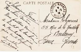 France Postes -navales , Méditerranée D   En 1916  TB - Poststempel (Briefe)