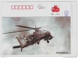 Black Hawk Armed Helicopter,China 2009 Xiangtan New Year Greeting Advertising Pre-stamped Card - Helikopters