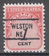 USA Precancel Vorausentwertung Preo, Locals Nebraska, Weston 841 - Vereinigte Staaten