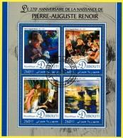 Bloc Oblitéré - 270e Anniversaire De La Naissance De Pierre-Auguste Renoir - N° 1164-1167KB (Michel) - Djibouti 2016 - Yibuti (1977-...)