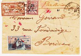 Maroc, De Mazagan , Tarif Avion Sur Deux Tp Surchargés  Et Vignette Guynemer,  1922 TB - Marokko (1891-1956)