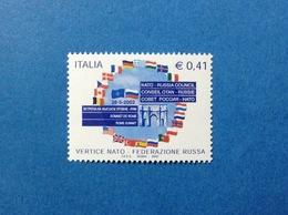 2002 ITALIA VERTICE NATO ADESIONE RUSSIA AL PATTO ATLANTICO FRANCOBOLLO NUOVO ITALY STAMP NEW MNH** - 2001-10: Mint/hinged