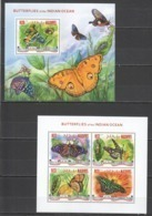 ML666 2014 MALDIVES FAUNA INSECTS BUTTERFLIES OF THE INDIAN OCEAN 1KB+1BL MNH - Farfalle
