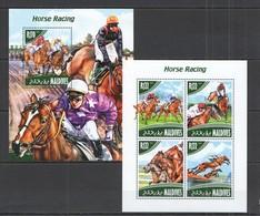 ML682 2014 MALDIVES SPORT ANIMALS HORSE RACING KB+BL MNH - Ippica