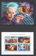 ML692 2014 MALDIVES FAMOUS PEOPLE ALBERT EINSTEIN 1KB+1BL MNH - Albert Einstein