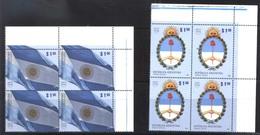 ARGENTINA ARGENTINE 2010 UPAEP AMERICA NATIONAL SYMBOLS DRAPEAUX,BLASON CUADRE,FLAG BLOC OF4YV 2835-6 Mi 3321-2 MNH - Ungebraucht