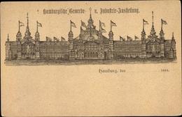 Lithographie Hamburg, Gewerbe- Und Industrieausstellung 1889 - Allemagne