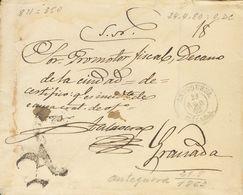 """Prefilatelia, Andalucía. Sobre. 1863. ANTEQUERA A GRANADA. Marca """"A"""" De Abono, En Negro (P.E.10) Edición 2004 Y Fechador - Spanien"""