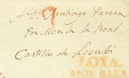 Prefilatelia, Andalucía. Sobre. 1839. LOJA A CASTILLO DE LOCUBIN (JAEN). Marca LOXA / AND. BAXA, En Rojo (P.E.5) Edición - Spanien