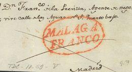 Prefilatelia, Andalucía. Sobre. (1830ca). Frontal De MALAGA A MADRID. Marca MALAGA / FRANCO (P.E.20) Edición 2004. MAGNI - Spanien