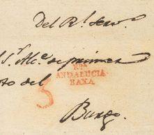 Prefilatelia, Andalucía. Sobre. (1799ca). RONDA A EL BURGO (envuelta). Marca RDª / ANDALUCIA / BAXA (P.E.1) Edición 2004 - Spanien