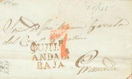 Prefilatelia, Andalucía. Sobre. 1841. DALIAS (GRANADA) A GRANADA. Marca OUJIJR. / ANDALª / BAJA (P.E.2) Edición 2004. MA - Spanien