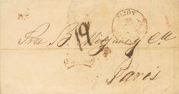 Prefilatelia, Asturias. Sobre. 1849. GIJON A PARIS (FRANCIA). Baeza JIJON / ASTURIAS Y Marca FRANCO, En Rojo Oxidado De  - Spanien