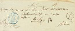 """Prefilatelia, Baleares. Sobre. 1861. Plica Judicial De IBIZA A PALMA DE MALLORCA. Marca """"A"""", De Abono En Negro (P.E.6) E - Spanien"""