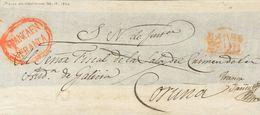 Prefilatelia, Castilla Y León. Sobre. (1822ca). Frente De Plica Judicial De BARCO DE VALDEORRAS A LA CORUÑA. Marcas BARC - Spanien