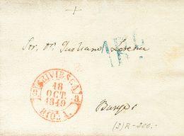 Prefilatelia, Castilla Y León. Sobre. 1849. BRIVIESCA A BURGOS. Baeza BRIVIESCA / RIOJA, En Rojo Y Al Dorso Marca BS, En - Spanien