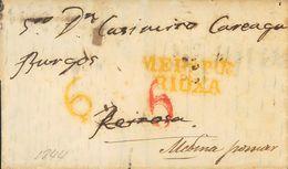 Prefilatelia, Castilla Y León. Sobre. 1844. MEDINA DE POMAR A REINOSA, Reexpedida A Origen. Marca MEDª POR / RIOXA, En A - Spanien