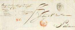 Prefilatelia, Castilla Y León. Sobre. 1853. Frente De Plica Judicial De VALLADOLID A PALENCIA. Baeza VALLADD. / CAST.LA  - Spanien