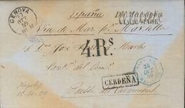Prefilatelia, Cataluña. Sobre. 1859. NAPOLES (ITALIA) A PUEBLA DEL CARAMIÑAL. Fechador Octogonal SARDAIGNE / MARSEILLE,  - Spanien